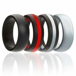 ROQ Silicone Wedding Ring for Men,7 Pack,4 Pack & Singles,Si