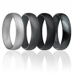 ROQ Silicone Wedding Ring for Men, Affordable 6mm Metallic S