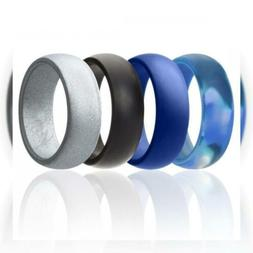 ROQ Silicone Wedding Ring for Men Affordable Rubber Band, 7