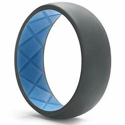 Egnaro Silicone Wedding Ring for Men Dual-Tone Breathable Me