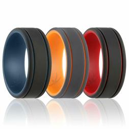 Silicone Wedding Ring for Men - Duo Collection - 3 Packs Cla