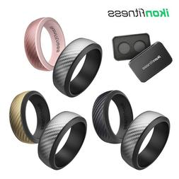 Silicone Wedding Ring for Men Women Rubber Bands Carbon Fibe