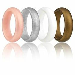 Silicone Wedding Ring For Women By ROQ Set of 4 Silicone Rub