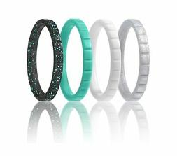 Silicone Wedding Ring For Women By ROQ, Set of 4 Thin Stacka