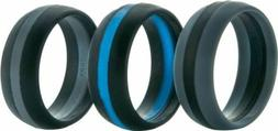 ThunderFit Silicone Wedding Rings 3 Pack Black/Blue Black/Gr