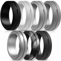 ThunderFit Silicone Wedding Rings for Men - 7 Pack (Grey, Li