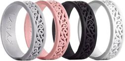 Silicone Wedding Rings for Women - 4 Pack Pick Size