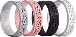 Silicone Wedding Rings for Women - 4Pack Size 7