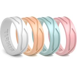 Silicone Wedding Rings / Wedding Bands- Rubber 4 PC - Women