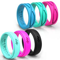 Silicone Wedding Rings / Wedding Bands- Rubber 6 PC-Women  R