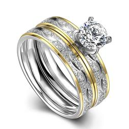 Stainless Steel Bridal Engagement Set Ring Yellow Gold AAA Z