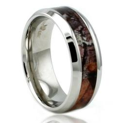 Stainless Steel Forest Hunting Wood Camo Mens Wedding Band 8
