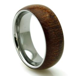 Stainless Steel Wood Overlay Mens Wedding Band Ring 8MM   FR
