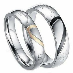 """Stainless Steel """" Real Love """" Heart Couples Promise Engageme"""