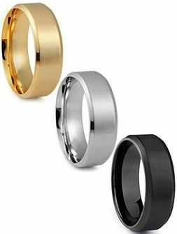 Jstyle Stainless Steel Rings for Men Wedding Ring 8 MM 3 Pcs
