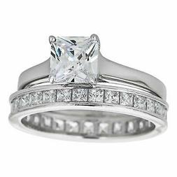 Sterling Silver Rhodium Princess Cut Solitaire and Princess