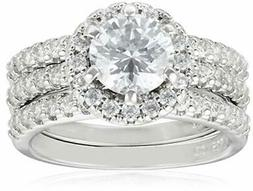 Sterling Silver round cut cubic zirconia halo setting three-