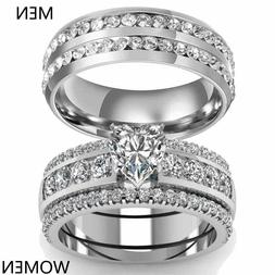 sz6-13 Couple Rings Stainless Steel Mens Band Heart CZ Women