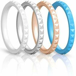 ThunderFit Thin and Stackable Silicone Rings, 4 Pack Silicon