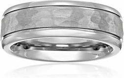 Titanium 7mm Comfort Fit Wedding Band with Hammered Center a