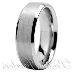 Tungsten Carbide Wedding Band Ring Brushed Silver Mens Jewel