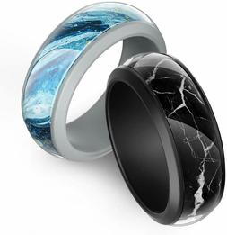 Ikonfittness Two Piece Silicone Wedding Ring Rubber Band Fle