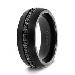 Valiant Black Tungsten Comfort Fit Wedding Ring Band with Bl