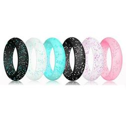Women Glitter Silicone Wedding Rings Comfortable Rubber Band