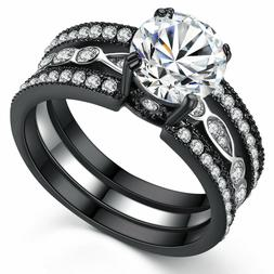Women's  2.18 Ct Black Stainless Round CZ Bridal Engagement