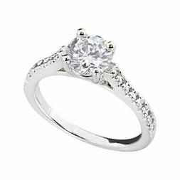 Women's Engagement Wedding Ring Oval CZ White Gold Plated Br