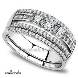 Women's Round Cut AAA CZ Stainless Steel Wedding Ring Set Sz