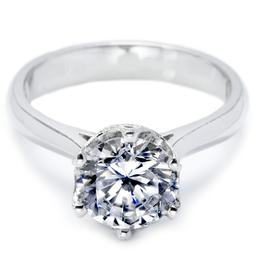 Women's Round Cut Solitaire CZ Stainless Steel Promise Weddi