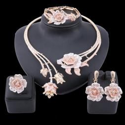 Women Wedding Gold Plated Crystal Rose Flower Necklace Ring