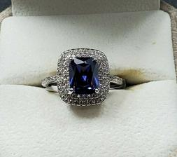 Womens 925 Sterling Silver Wedding Engagement Class Cut Ring